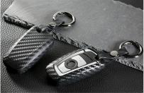 M.JVisun Soft Silicone Rubber Carbon Fiber Texture Cover Protector for BMW Key Fob, Car Remote Key Fob Case for BMW 1-Series 2 3 4 5 6 7 Series X3 X4 M2 M3 M4 M5 M6 - Black - Round Keychain