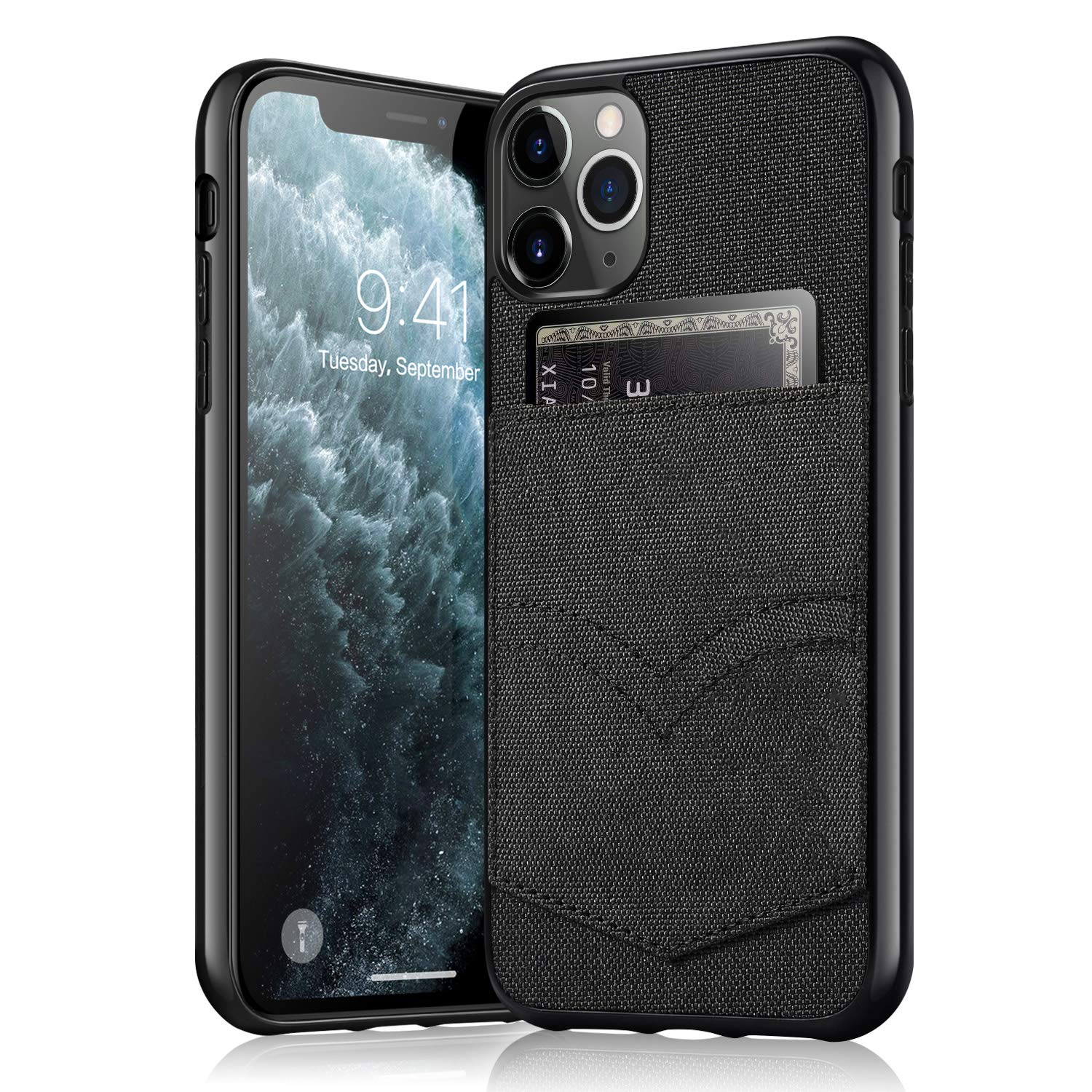 HTGK iPhone 11 Pro Max Wallet Case, iPhone 11 Pro Max Credit Card Slot Holder Case, Canvas + Soft Flexible TPU Cover Case for iPhone 11 Pro Max (2019) 6.5 inch (Black)