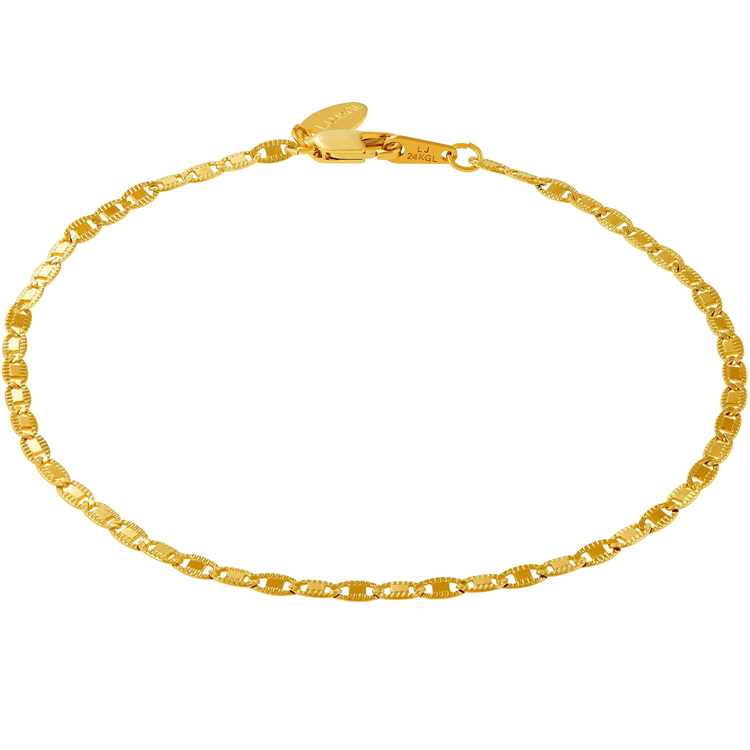 Lifetime Jewelry Gold Ankle Bracelets for Women Men and Teen Girls [ 2.5mm Flat Mariner Link Chain ] 20X More Real 24K Plating Than Other Anklets - Cute for Beach Party Wedding 9 10 and 11 inches