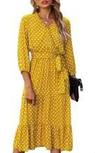 Theenkoln Women's Wrap V Neck Puff Long Sleeve Pleated Elegant Midi Dress with Belt and Snap