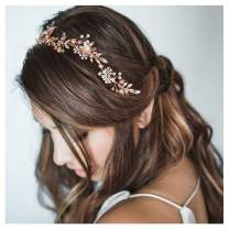 SWEETV Rose Gold Pearl Headband for Wedding-Flower Bridal Headband-Handmade Hair Vine Headpieces for Women Brides