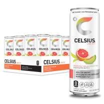 CELSIUS Grapefruit Melon Green Tea Non-Carbonated Fitness Drink, Zero Sugar, 12oz. Slim Can, 12 Pack