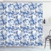 "Ambesonne Shabby Flora Shower Curtain, Watercolor Paintbrush Camellia Petals Perennial Romance Sprout Feminine Print, Cloth Fabric Bathroom Decor Set with Hooks, 75"" Long, Blue"