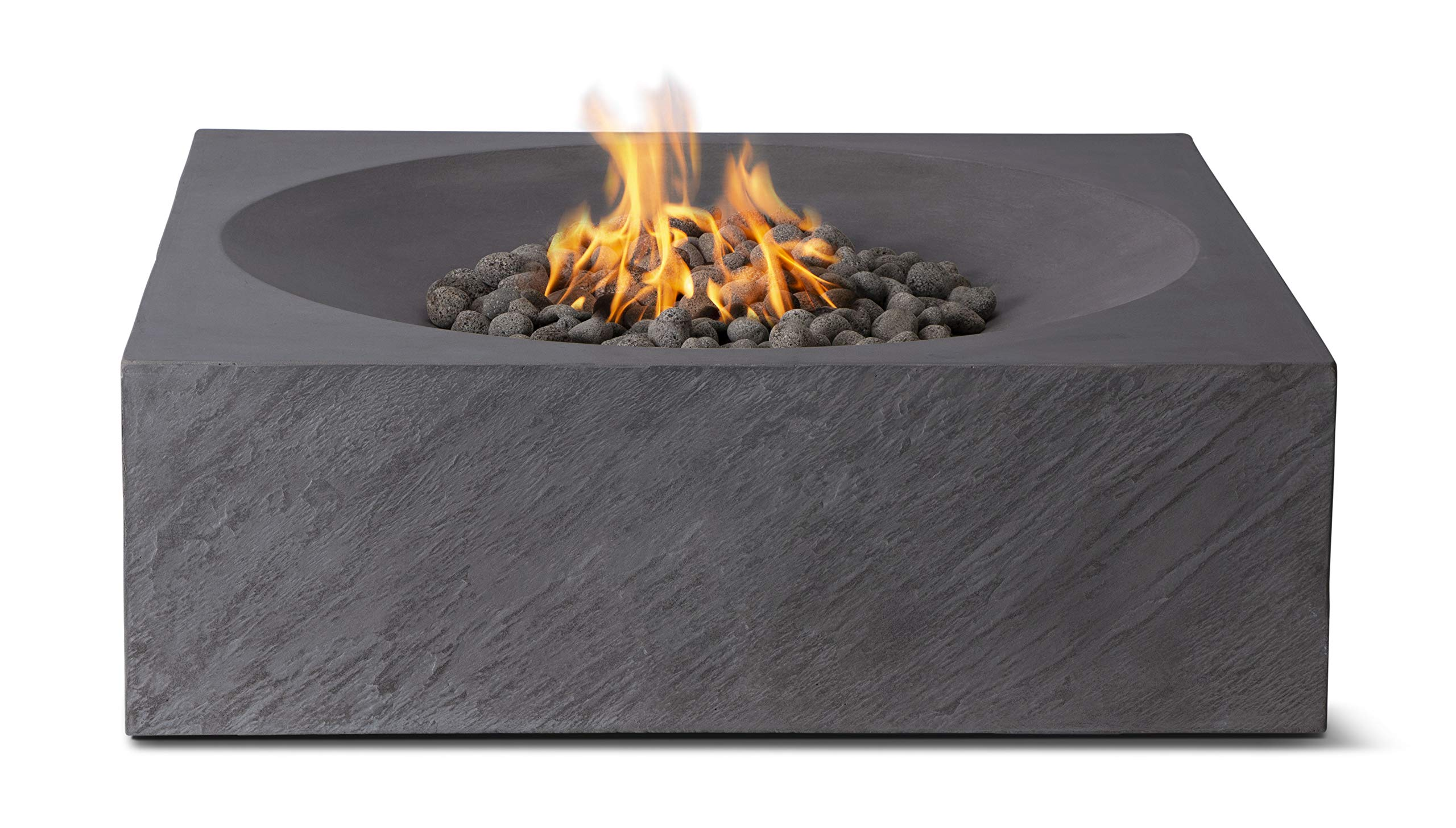 Pyromania Paloma Outdoor Fire Pit Table. Hand Crafted from Concrete. 60,000 BTU Stainless Steel Burner with Electronic Ignition - Natural Gas Model, Charcoal Color (Lava Rock Included)