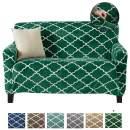 Modern Velvet Plush Love Seat Slipcover. Strapless One Piece Stretch Loveseat Cover. Love Seat Cover for Living Room. Magnolia Collection Slipcover. (Love Seat, Emerald Green)