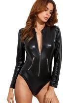 Verdusa Women's Long Sleeve Faux Leather Zip Detail Bodycon Clubwear Bodysuit