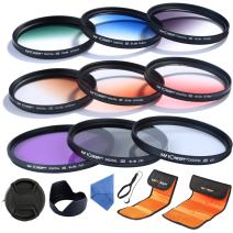 K&F Concept 62mm UV CPL FLD Graduated Filter Lens Accessory 9pcs Filter Kit UV Protector Circular Polarizing Filter + Microfiber Lens Cleaning Cloth + Petal Lens Hood + Filter Bag Pouch