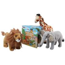 """Safari Animals Plush And Book Set - Stuffed Animals of 3 Savanna Animals with Storybook - 12"""" Soft Safari Toys for Boys and Girls - Set Includes Lion, Giraffe and Elephant with Colorful Children Book"""