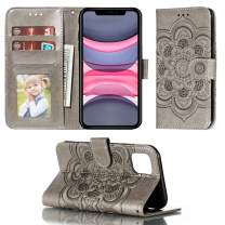 UNKNOK iPhone 11 Wallet Case 6.1 Inch Card Holder Case, Slim Soft PU Leather Kickstand Flip Cover Embossed Mandala Flower Lanyard Protective Cover Case for 2019 Release iPhone 11
