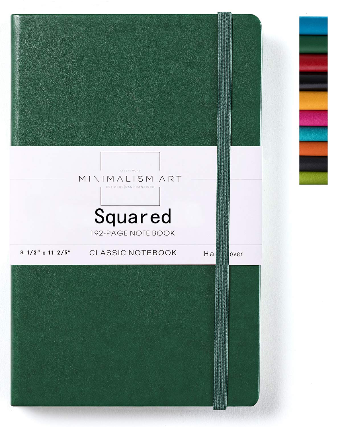 Minimalism Art, Classic Notebook Journal, A4 Size 8.3 X 11.4 inches, Green, Squared Grid Page, 192 Pages, Hard Cover, Fine PU Leather, Inner Pocket, Quality Paper-100gsm, Designed in San Francisco