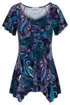 Nandashe Women Boat Neck Short Sleeve Floral Tunic Top Empire Waist Peplum Shirt