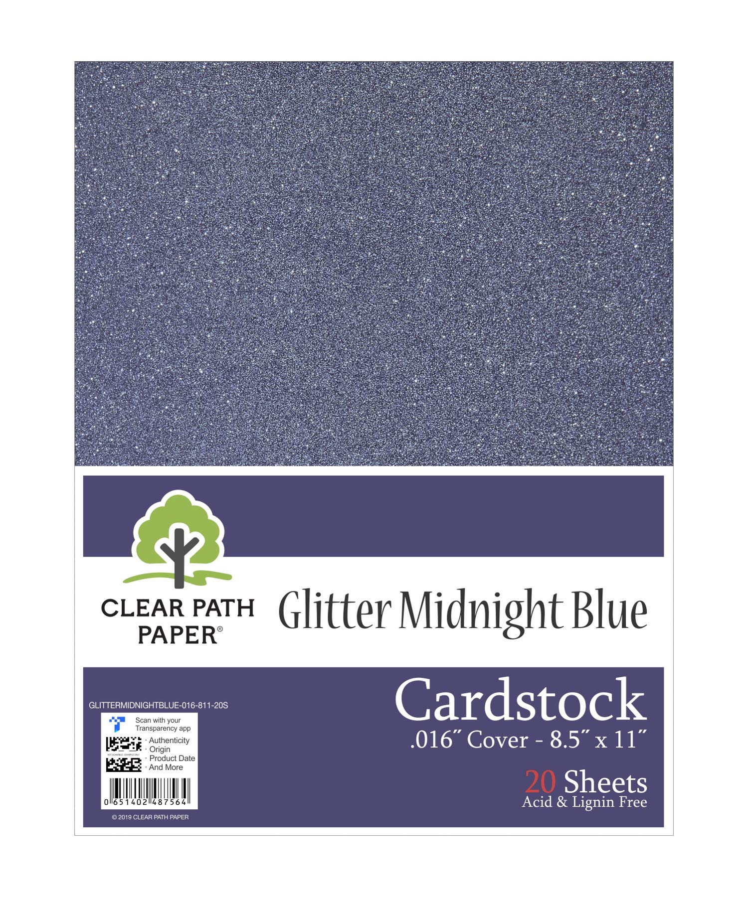 "Glitter Midnight Blue Cardstock - 8.5 x 11 inch - .016"" Thick - 20 Sheets"