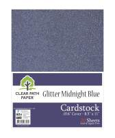 """Glitter Midnight Blue Cardstock - 8.5 x 11 inch - .016"""" Thick - 20 Sheets"""