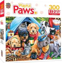 MasterPieces Playful Paws Gardening Buddies EZ Grip Jigsaw Puzzle, Art by Jenny Newland, 300-Piece