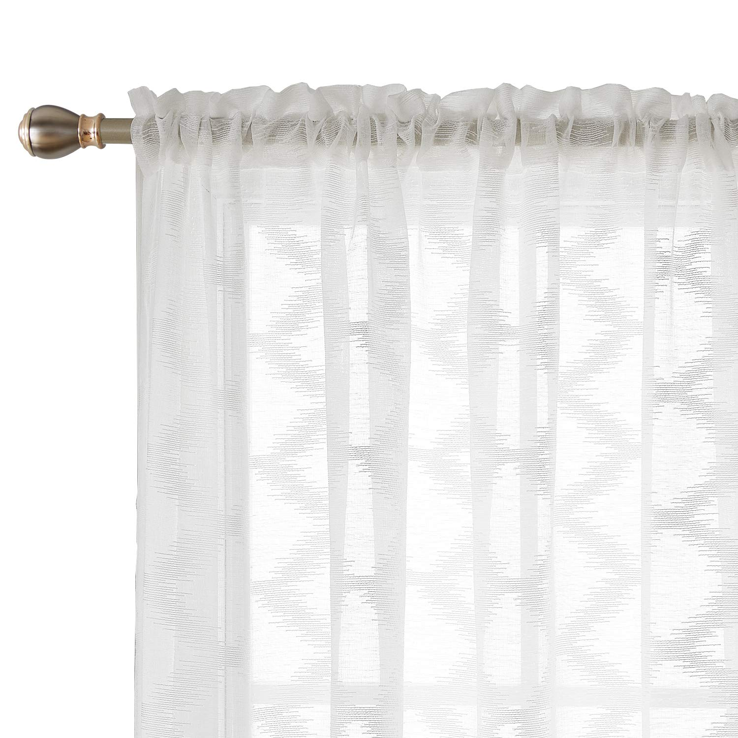 Deconovo White Sheer Curtains Rhombus Embroidered Semi Sheer Curtain Rod Pocket Drapes For Living Room 2 Panels 52 X 63 Inch White