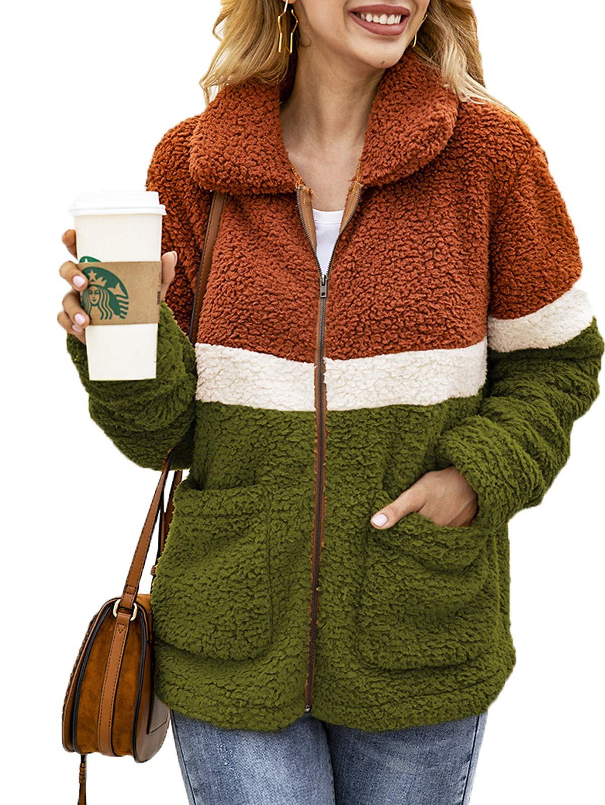 SWQZVT Womens Lapel Fleece Fuzzy Faux Zipper Outwear Jacket Warm Winter Button Down Coat with Pockets