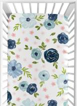 Sweet Jojo Designs Navy Blue and Pink Watercolor Floral Girl Fitted Crib Sheet Baby or Toddler Bed Nursery - Blush, Green and White Shabby Chic Rose Flower