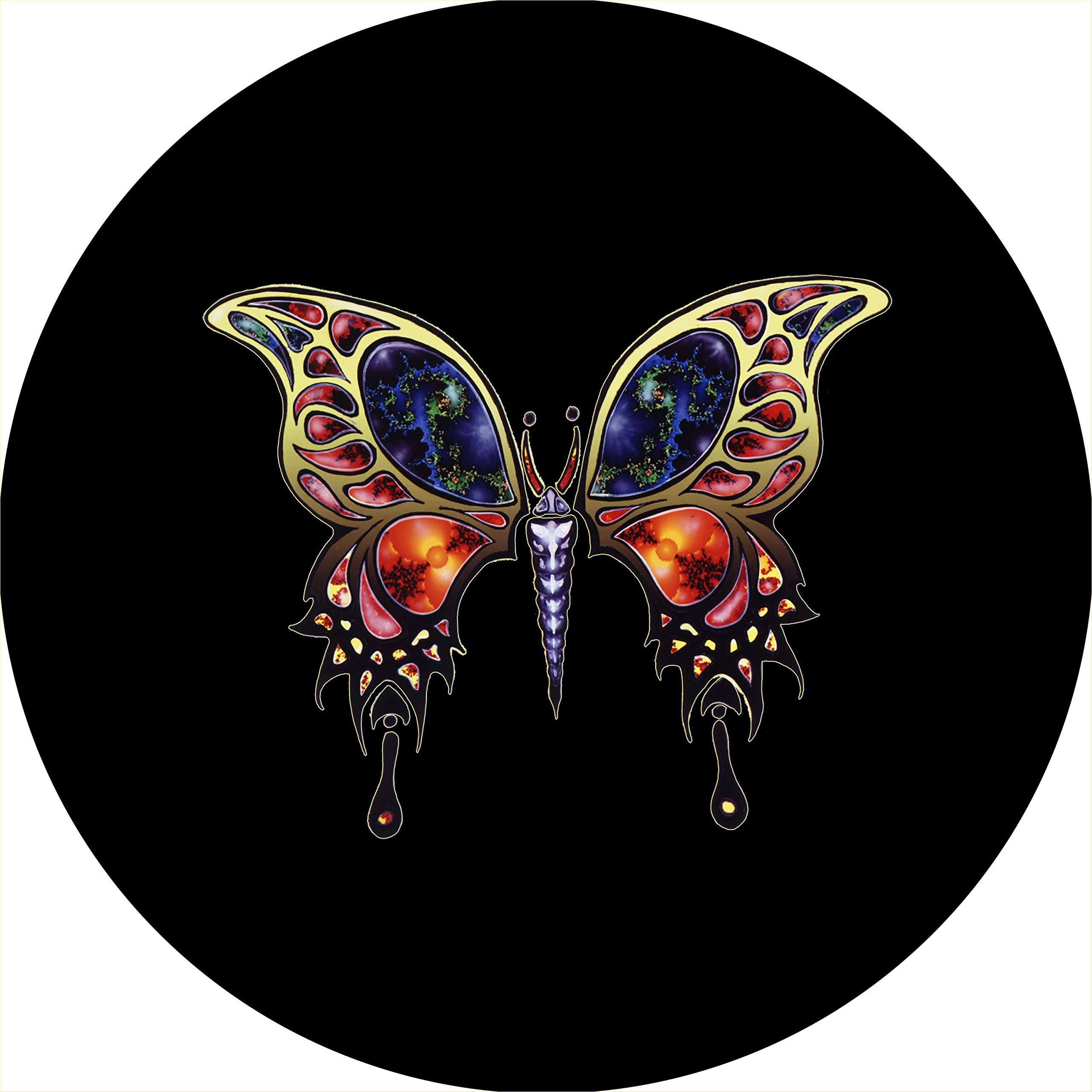TIRE COVER CENTRAL Fractal Butterfly Spare Tire Cover (Select tire Size/Back up Camera in MENU) Custom Sized to Any Make/Model 255/75R17 Dubois(c)