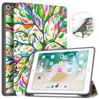 Soke iPad 9.7 2018/2017 Case with Pencil Holder, Trifold Stand with Shockproof Soft TPU Back Cover and Auto Sleep/Wake Function for iPad 9.7 inch 5th/6th Generation,Lucky Tree