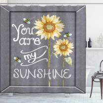 """Ambesonne You are My Sunshine Shower Curtain, You are My Sunshine Words on Blackboard Bees Sunflowers Vintage Image, Cloth Fabric Bathroom Decor Set with Hooks, 70"""" Long, Yellow Grey"""