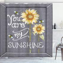 "Ambesonne You are My Sunshine Shower Curtain, You are My Sunshine Words on Blackboard Bees Sunflowers Vintage Image, Cloth Fabric Bathroom Decor Set with Hooks, 70"" Long, Yellow Grey"