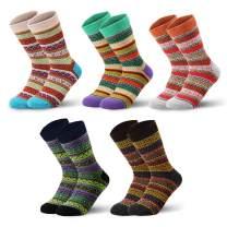 SEVENS Women Wool Socks for Winter, Vintage Winter Socks Thick Cozy Knit Wool Socks for Women (B-5 Pairs)
