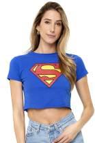 Superman Classic Logo Supergirl Juniors Teen Girls Crop Top T Shirt & Stickers