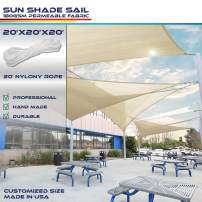 20' x 20' x 20' Sun Shade Sail UV Block Fabric Canopy in Beige Sand Triangle for Patio Garden Patio Customized (3 Year Warranty)