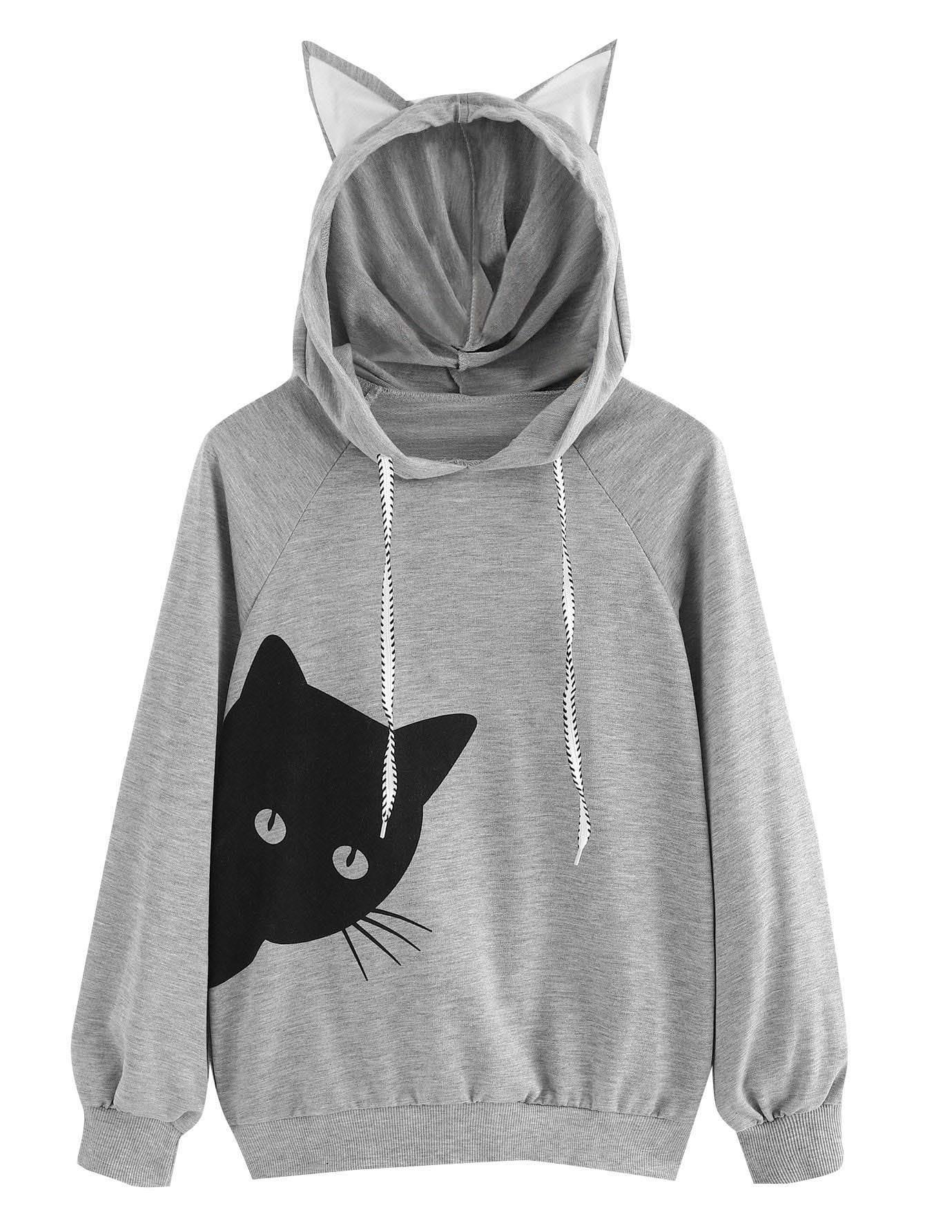 Milumia Women Casual Hoodie Long Sleeves Cat Ear Novelty Lightweight Sweatshirt