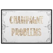 """The Oliver Gal Artist Co. Typography Framed Wall Art Canvas Prints 'Champagne Problems' Quotes and Sayings Home Décor, 36"""" x 24"""", Gold, White"""