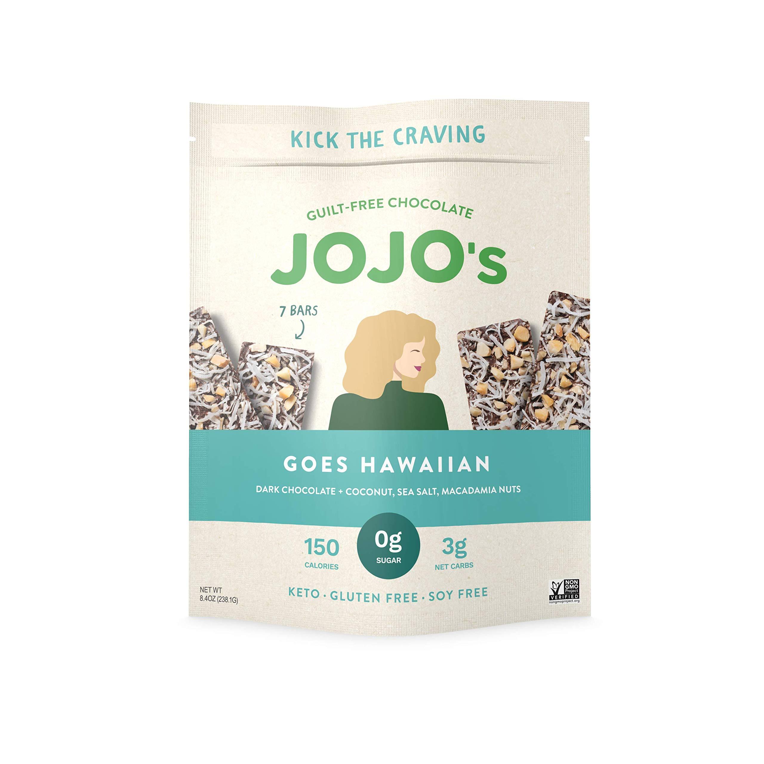 JOJO's Goes Hawaiian Sugar-Free Guilt-Free Chocolate, Macadamia Nuts, Coconut, Sea Salt, and Plant Based Protein - 8.4oz Bag(7 Bars) I Low Carb I KETO I Paleo & Vegan Friendly