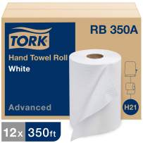Tork Advanced Hand Towel Roll H21, Disposable Paper Towel Roll RB350A, 100% Recycled, Absorbent & Soft, 1-Ply, White - 12 Rolls x 350 ft