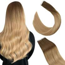 Ugeat Tape in Hair Extensions Human Hair 18inch Tape in Remy Hair Extensions 50g/20pcs Tape in Real Human Hair Extensions Ombre #8 Brown to #16 Blonde Tape on Human Hair Extensions