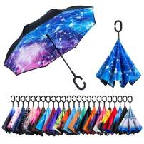 Newsight Reverse Umbrella, Double Layer Inverted Umbrella Upside Down, Self Stand, C Shape Handle, Inverse Inside Out Folding for Car, Windproof, Waterproof, Sun Protective, with Carrying Sleeve