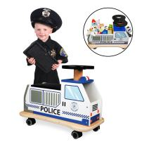 Svan Ride On Police Car Solid Wood - Removable Seat Turns Into Toy Box