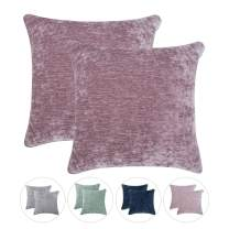 Hahadidi Pack of 2 Cozy Decorative Throw Pillow Cover,No Pillow Insert,Farmhouse Square Pillowcase Luxury Velvet Cushion Case Covers for Car/Bed/Sofa/Couch,Gray Pink,20''x20''(50x50cm)