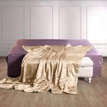 THXSILK 100% Silk Throw Blanket for Bed/Couch Top Grade Long-Strand Silk Quilted Bedspread Soft & Cozy (Champagne, Queen)