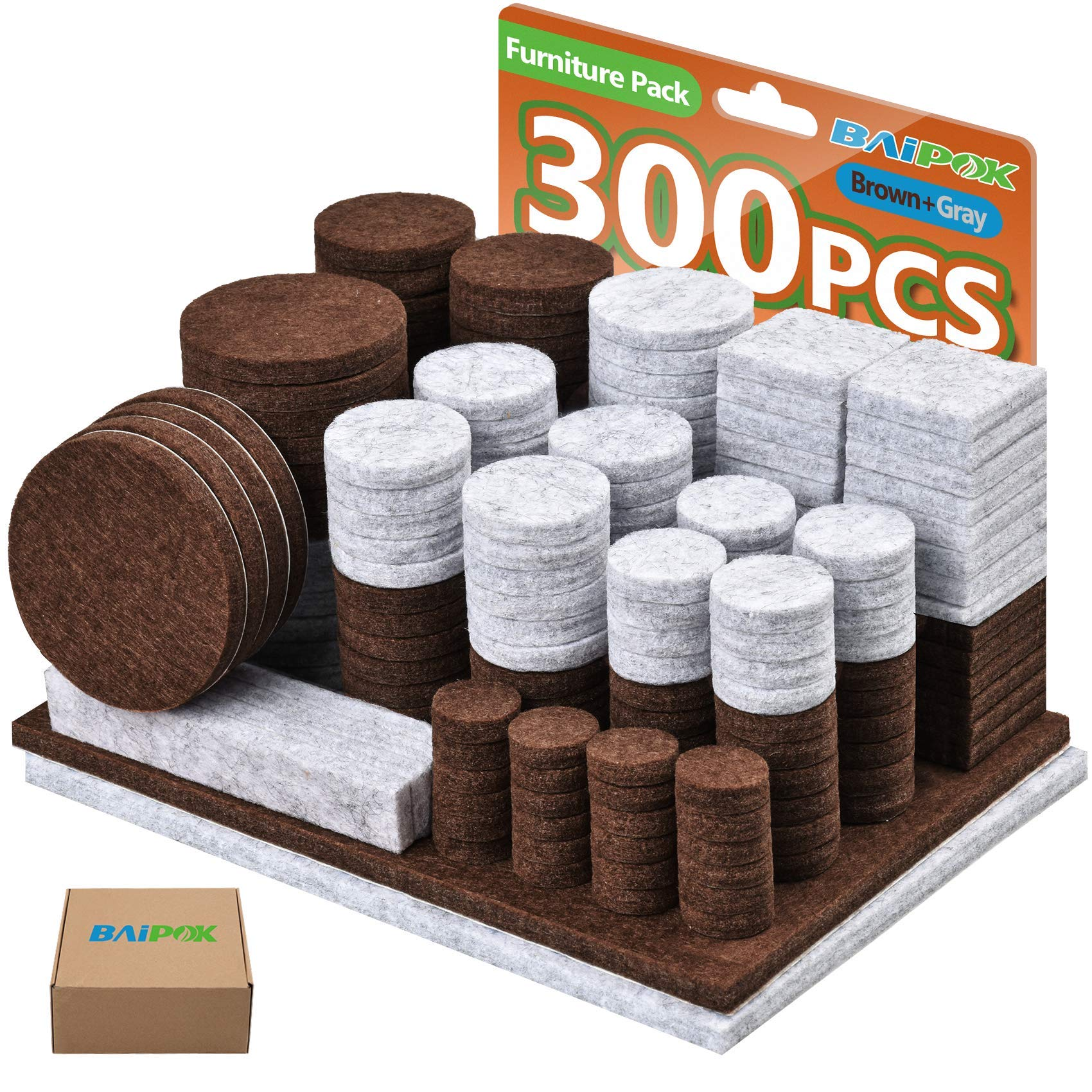 Felt Pads 300 Pcs Furniture Pads Two Colors (Brown 130 + Gray 110), Various Sizes Self Adhesive Chair Leg Pads, Anti Scratch Floor Protectors for Hard Floor with 60 Cabinet Door Bumpers