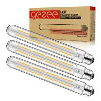 GEZEE T10(T30),8.9in(225mm), 3-Pack,Dimmable 8W Long Tube Decorative Light Bulb,Edison Style Vintage LED Filament Light Bulb,Antique Shape, Warm White 2700K,800LM(80W Equivalent), E26 Medium Base Lamp