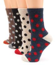 MIRMARU Women's 4 Pairs Wool Blend Thick Soft Knitted Warm Cozy Fashion Novelty Casual Crew Socks