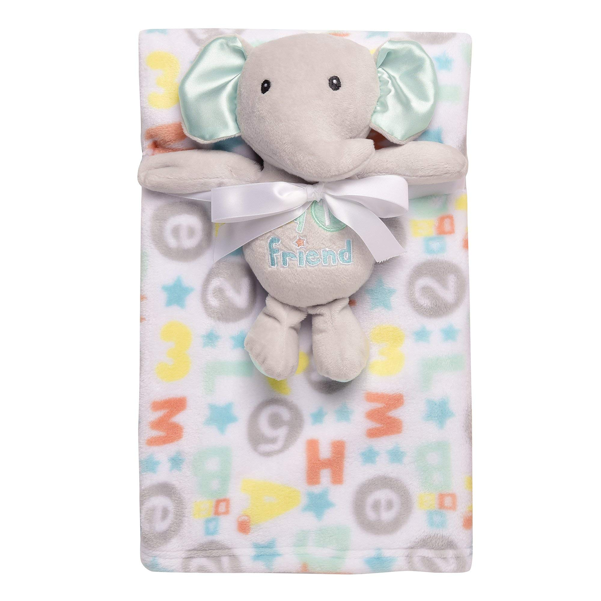 Baby Starters 2-Piece Snuggle Buddy Toy Rattle and Plush Baby Blanket Gift Set for Newborns and New Moms (Gray and Blue Elephant, 30x36)