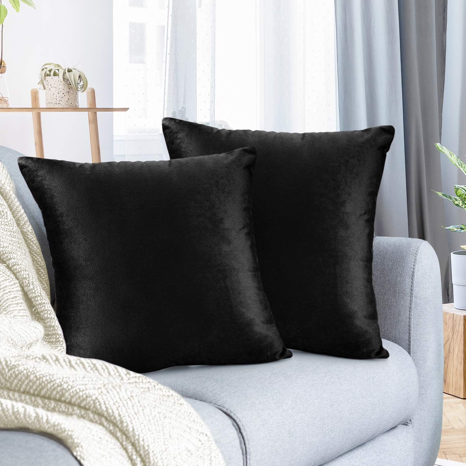 """Nestl Bedding Throw Pillow Cover 26"""" x 26"""" Soft Square Decorative Throw Pillow Covers Cozy Velvet Cushion Case for Sofa Couch Bedroom, Set of 2, Black"""