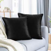 """Nestl Bedding Throw Pillow Cover 20"""" x 20"""" Soft Square Decorative Throw Pillow Covers Cozy Velvet Cushion Case for Sofa Couch Bedroom, Set of 2, Black"""
