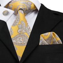 Hi-Tie Yellow Necktie for Men with Pocket Square and Cufflinks