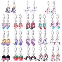 LOYALLOOK 18Pairs Clip on/Leverbacks Earrings Princess Play Earrings Set for Women Mermaid Unicorn Crystal Clipon Rainbow Drop Dangle Earring Eardrop