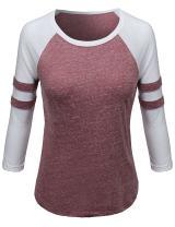 Awesome21 Women's Color Contrast 3/4 Sleeve Raglan Baseball Tee