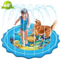 """Mademax Upgraded 68"""" Sprinkle & Splash Play Mat, Inflatable Summer Outdoor Party Sprinkler Pad Water Toys Fun for Children, Infants, Toddlers, Boys, Girls and Kids"""