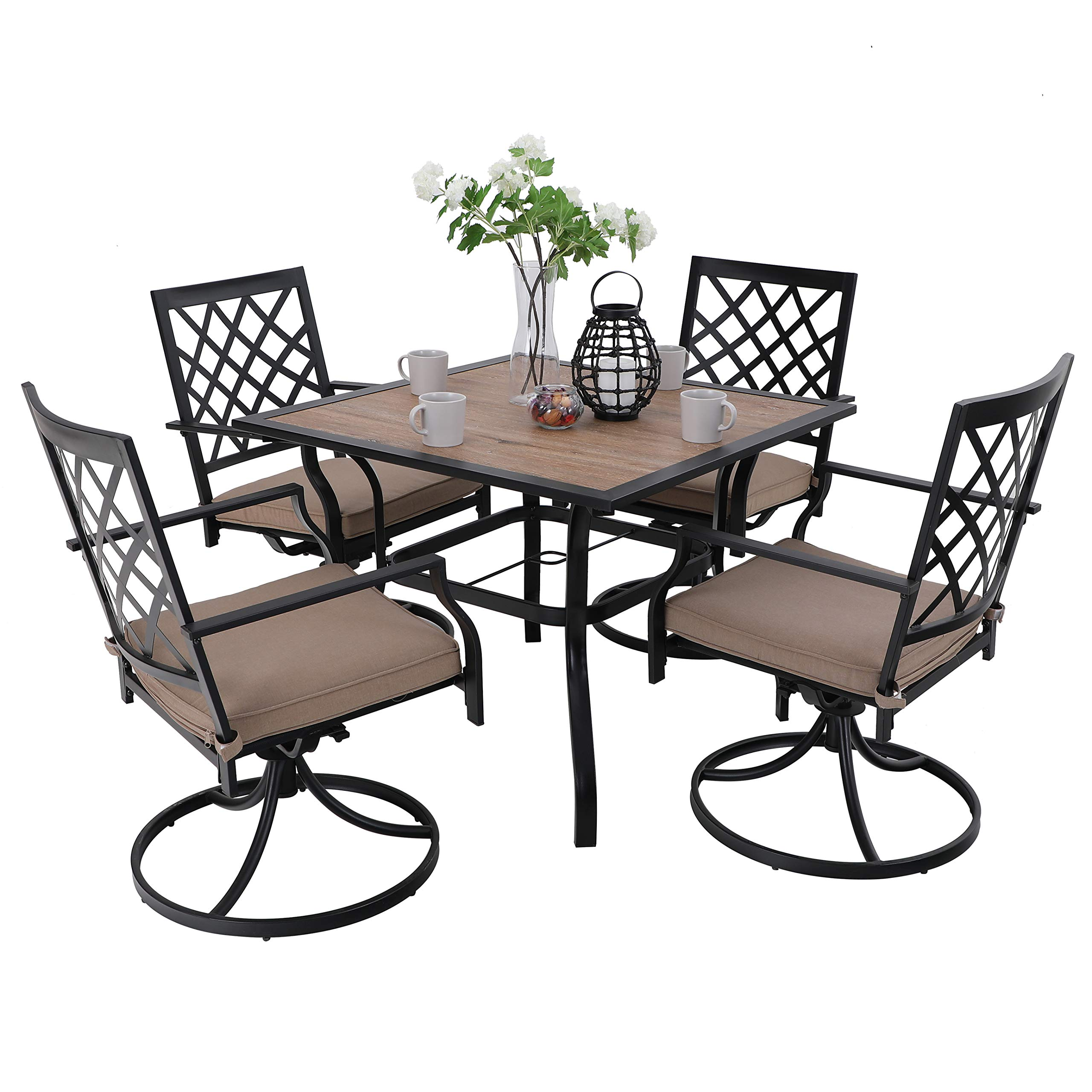 Picture of: Phi Villa 5 Piece Outdoor Patio Bistro Swivel Chairs And Wood Like Square Dining Table Furniture Set