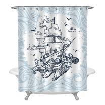 MitoVilla Retro Sailboat Between Big Waves Sailing Shower Curtain Unique Cool Nautical Theme Btahroom Decor for Kids Boy, Long Size, Light Blue White, 72 x 72 inches