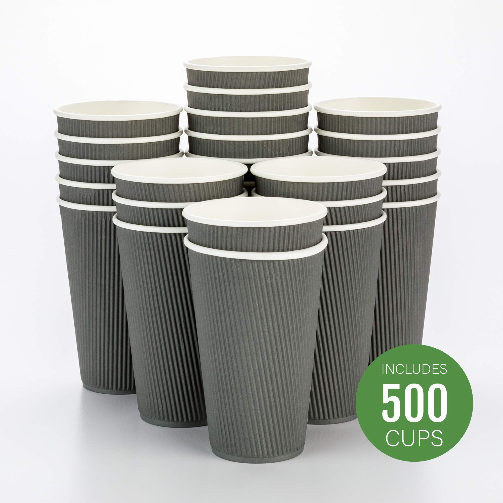 500-CT Disposable Gray 16-OZ Hot Beverage Cups with Ripple Wall Design: No Need for Sleeves - Perfect for Cafes - Eco-Friendly Recyclable Paper - Insulated - Wholesale Takeout Coffee Cup
